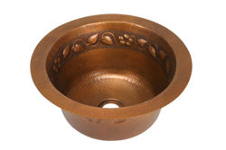 "16"" Round Copper Bar Sink - Floral by SoLuna"