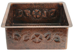 "Picture of 18"" Square Copper Bar Sink - Floral by SoLuna"