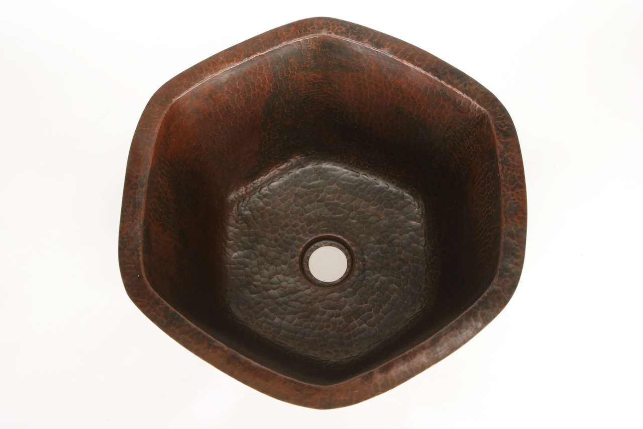 """Picture of 16"""" Hexagon Copper Bar Sink by SoLuna"""