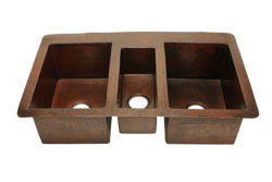 "Picture of 42"" Triple Well Copper Kitchen Sink by SoLuna"