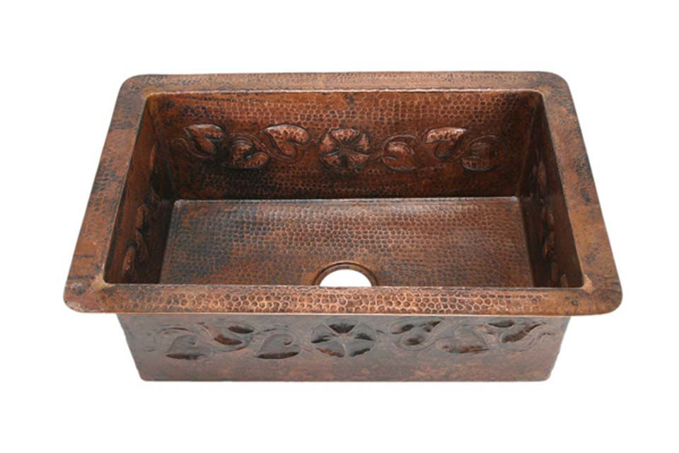"Picture of 33"" Copper Kitchen Sink - Floral Vine by SoLuna"