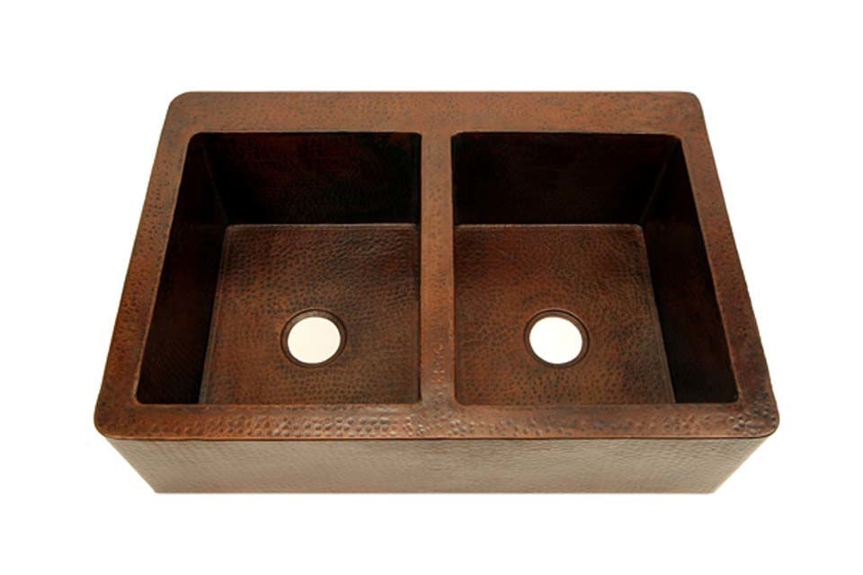 """Picture of 36"""" Copper Farmhouse Sink - 50/50 by SoLuna"""
