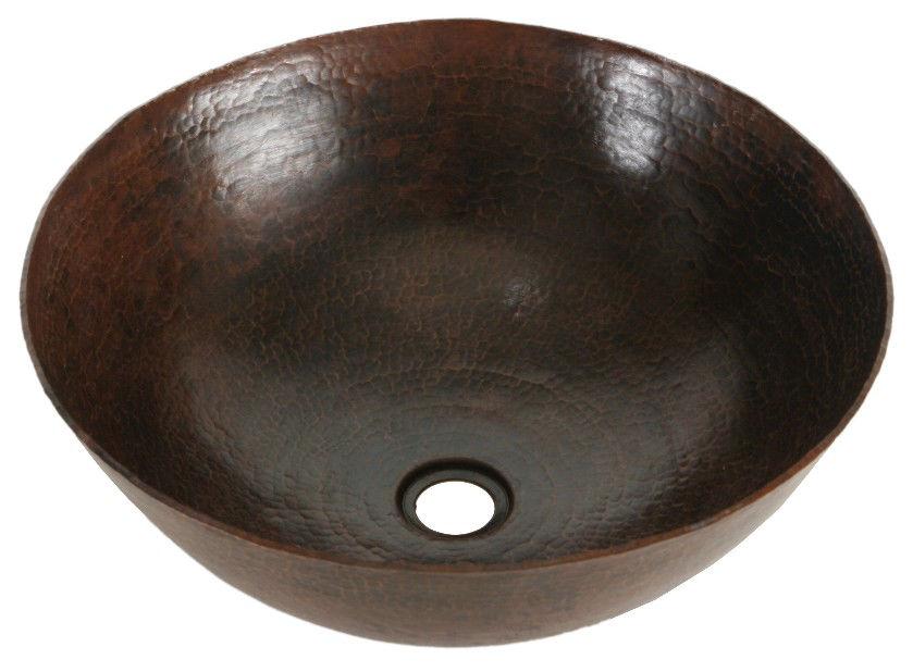 """Picture of 16"""" Espeso Redondo Copper Vessel Sink by SoLuna"""