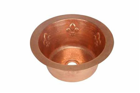 "Picture of 16"" Round Copper Bar Sink - Fleur de Lis by SoLuna"