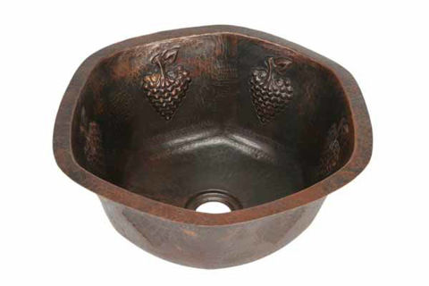 "16"" Hexagon Copper Bar Sink - Grapes by SoLuna"