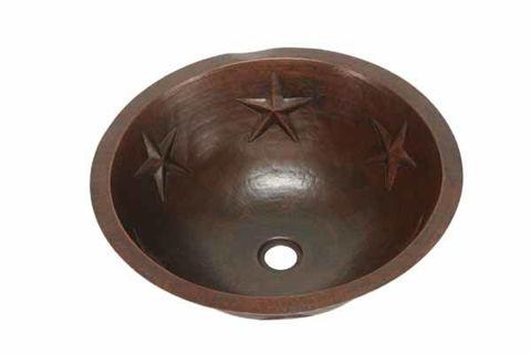 """17"""" Round Copper Bathroom Sink - Texas Star by SoLuna"""
