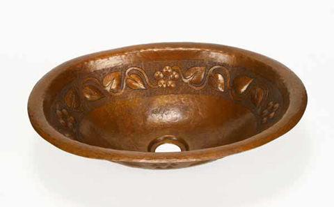 "15"" Oval Copper Bathroom Sink - Floral by SoLuna"
