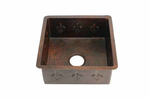 "18"" Square Copper Bar Sink - Fleur de Lis by SoLuna"