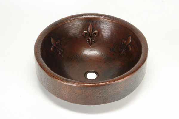 "17"" Prescenio Copper Vessel Sink - Fleur de Lis by SoLuna"
