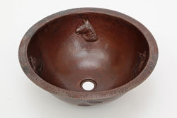 "Picture of 17"" Round Copper Bath Sink - Horse by SoLuna"