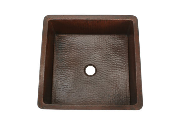 Picture of Large Square Copper Kitchen Prep or Bar Sink