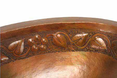 "Picture of 19"" Oval Copper Bathroom Sink - Floral by SoLuna"