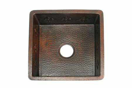 "Picture of 18"" Square Copper Bar Sink - Fleur de Lis by SoLuna"