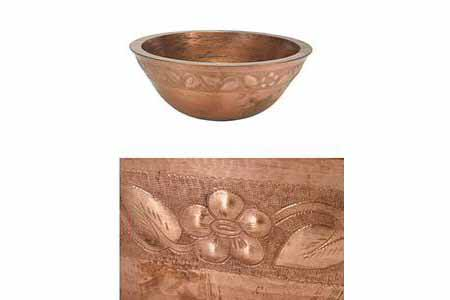 """Picture of 18"""" Colina Copper Vessel Sink - Floral by SoLuna"""