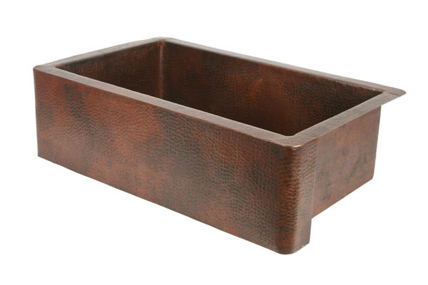 "Picture of 33"" Single Well Copper Farmhouse Sink by SoLuna"