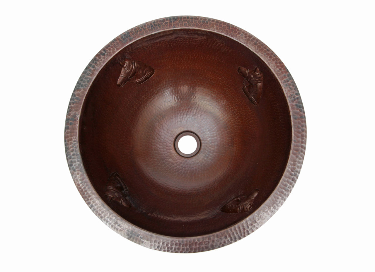 """Picture of 17"""" Round Copper Bath Sink - Horse by SoLuna"""