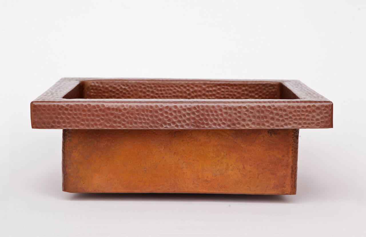 """Picture of 17"""" Rimmed Rectangle Copper Prep Sink"""