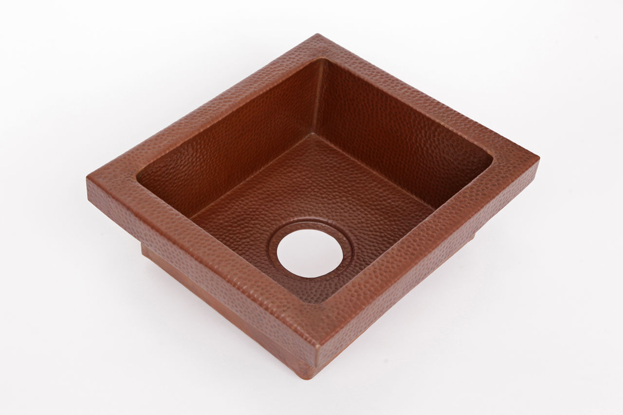 "Picture of 17"" Rimmed Rectangle Copper Prep Sink"