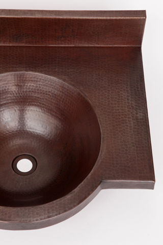"24"" Wall-Mount Round Copper Bathroom Sink by SoLuna"