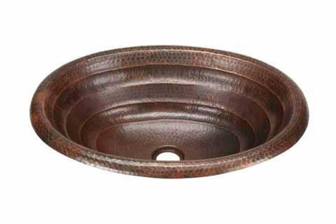 """Picture of 19"""" Oval Copper Bathroom Sink - Rings by SoLuna"""