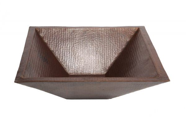"Picture of SALE 20"" Pyramidal Tapered Copper Vessel Sink in Dark Smoke"