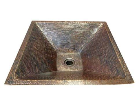 "SALE 20"" Pyramidal Tapered Copper Vessel Sink in Rio Grande"