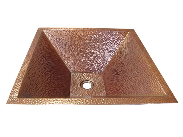 "Picture of SALE 20"" Pyramidal Tapered Copper Vessel Sink in Cafe Natural"