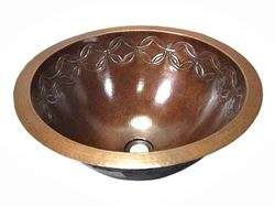 SALE Large Copper Sink with Joining Rings Design in Cafe Natural with Flat Rim