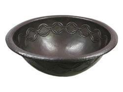 Picture of SALE Medium Copper Sink with Joining Rings Design in Dark Smoke with Rolled Rim