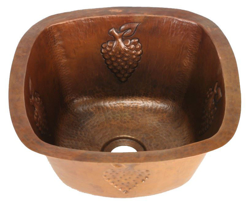 """Picture of 15"""" Copper Bar Sink w/Rounded Edge - Grapes by SoLuna"""