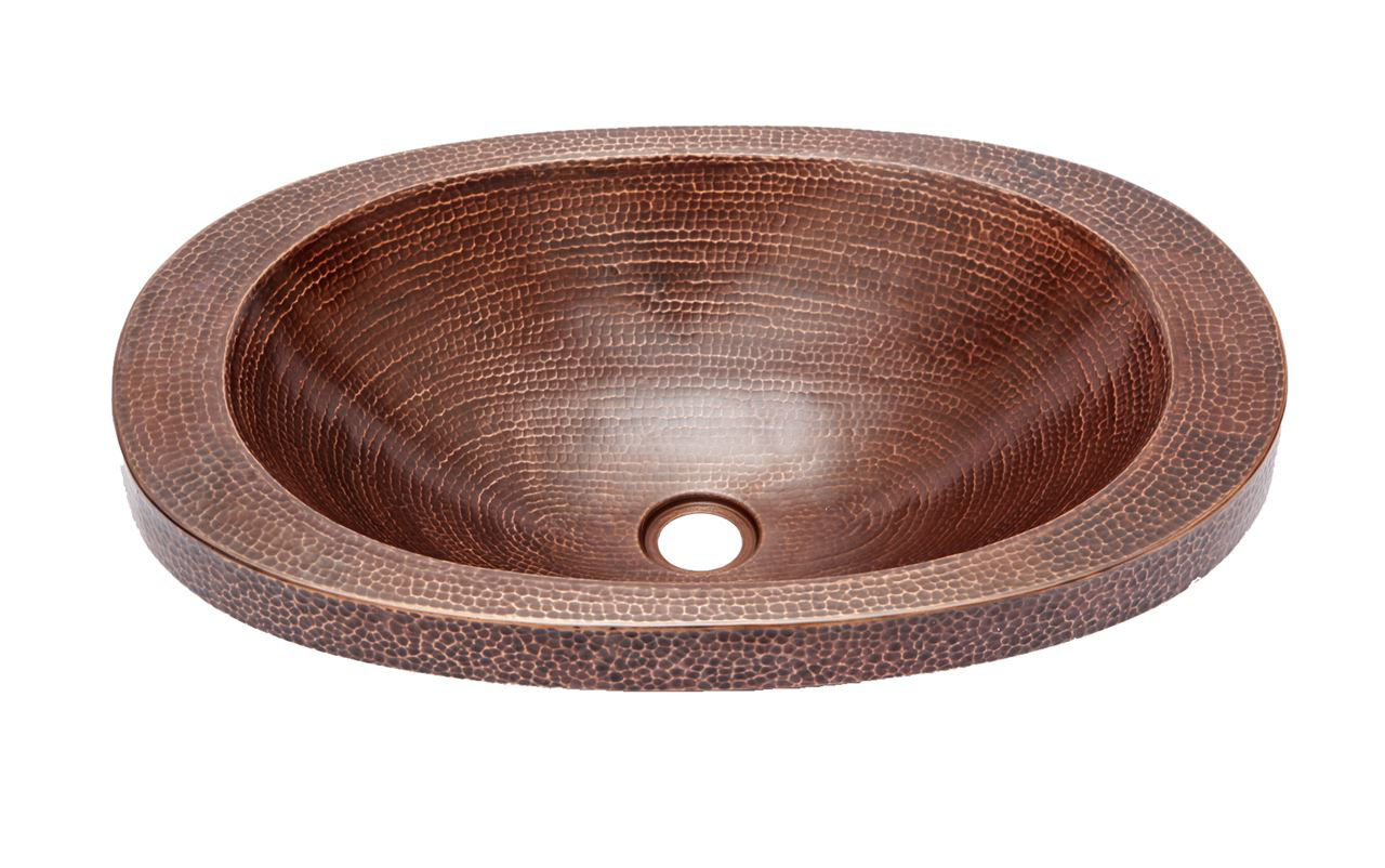 """Picture of 21"""" Oval Copper Bathroom Sink w/Raised Rim by SoLuna"""