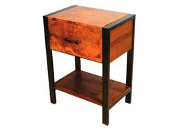 Picture of Flat Iron Nightstand with Copper Panels and Iron Legs
