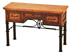 3-Drawer Writing Desk with Wrought Iron Base
