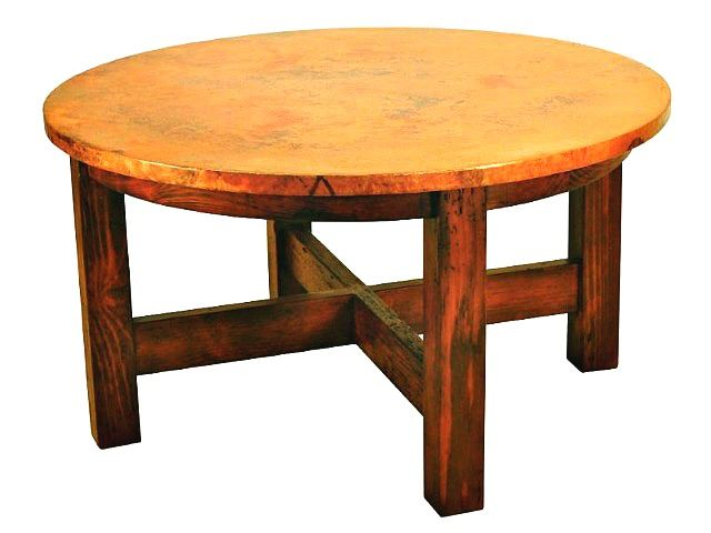 Picture of Country Round Dining Table with Copper Tabletop