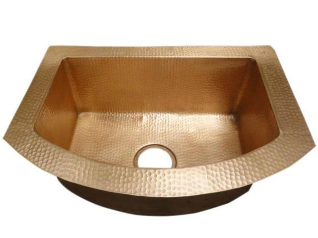 Picture of Rounded Front Single Well Copper Kitchen Sink by SoLuna