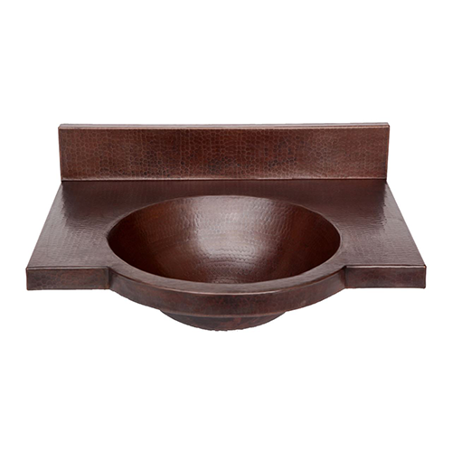 "Picture of 24"" Wall-Mount Round Copper Bathroom Sink by SoLuna"
