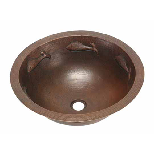 "Picture of 17"" Round Copper Bathroom Sink - Pescado with Flat Rim by SoLuna"