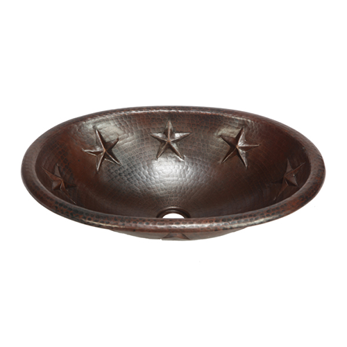 """Picture of 19"""" Oval Copper Bathroom Sink - Texas Star by SoLuna"""