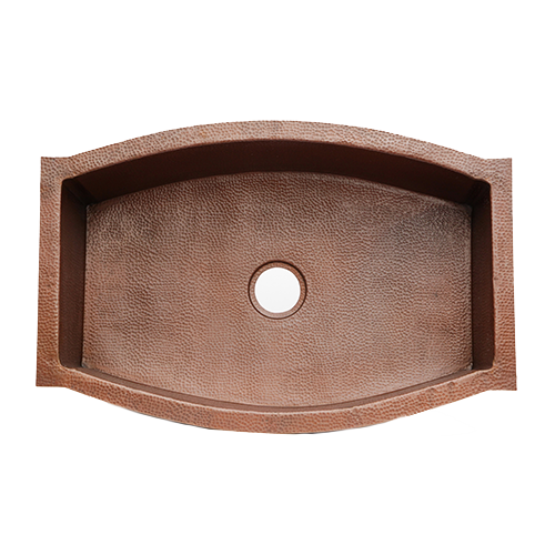 "Picture of 33"" Squared Oval Copper Kitchen Sink by SoLuna"