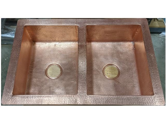 "Picture of 33"" Hammered Copper 50/50 Kitchen Sink in Matte Copper - Sale"