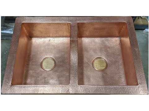 """33"""" Hammered Copper 50/50 Kitchen Sink in Matte Copper - Sale"""